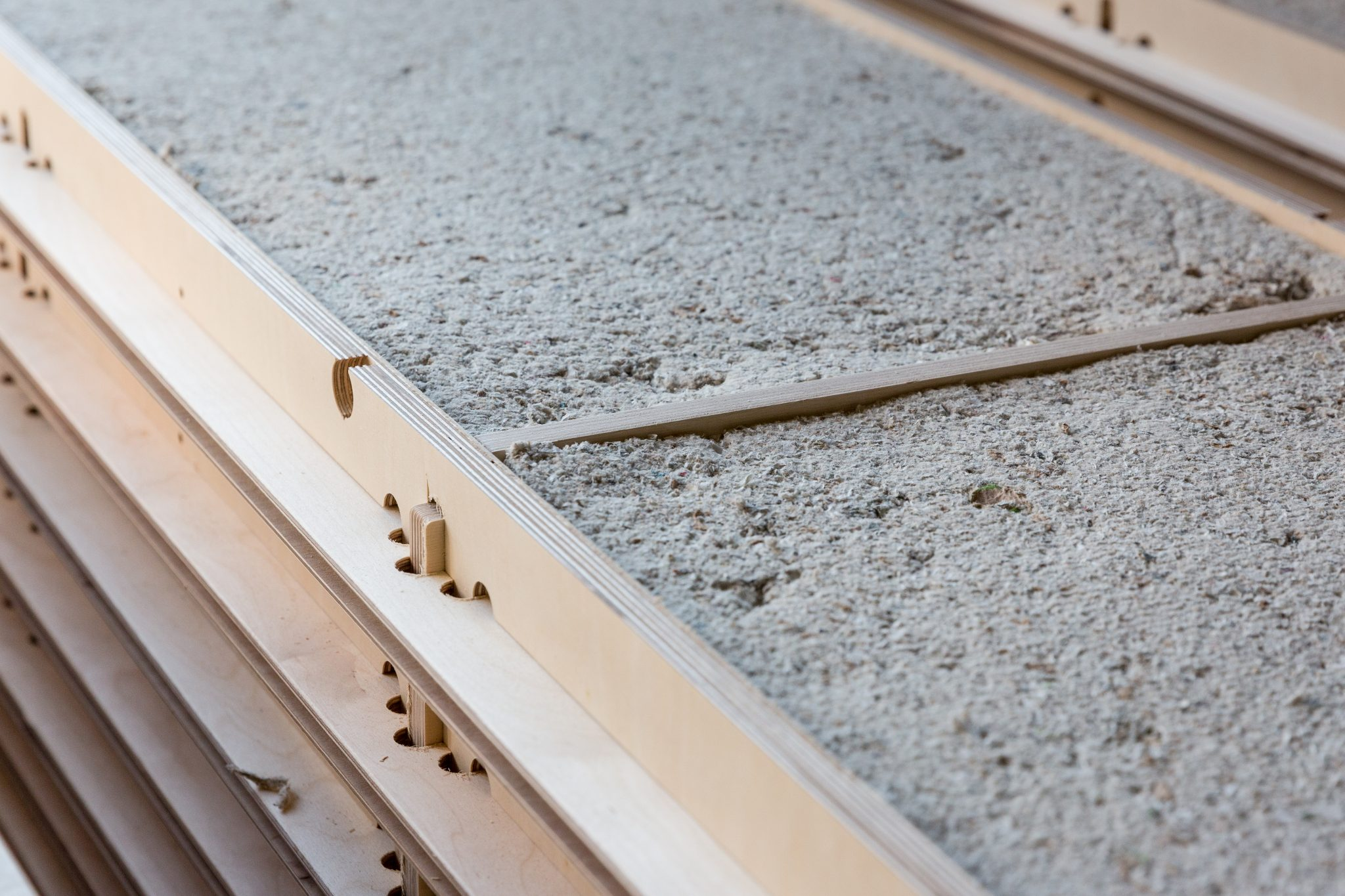 To meet building standards we carefully select and design with bio-based building materials. here glutex insulation